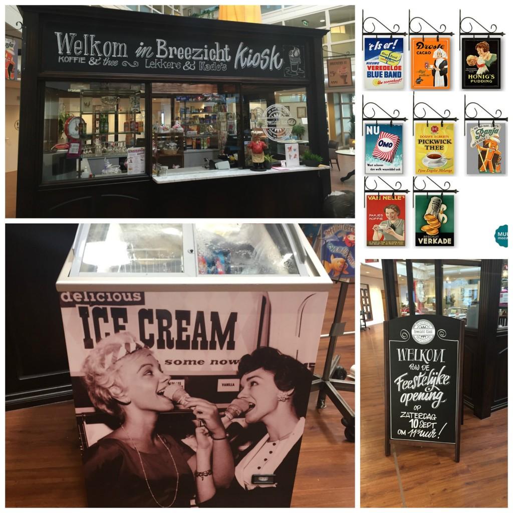 Breezicht kiosk met eigen logo, ijscomeubel en uithangborden